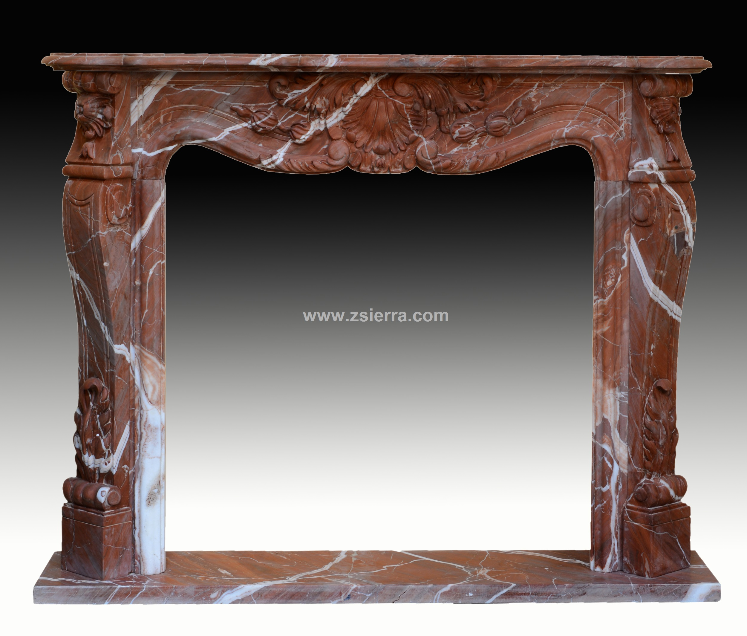 Z Sierra Antiques And Decorative Objects Red Marble Fireplace Surround After French Louis Xv Style Marble Sculptures Decoration