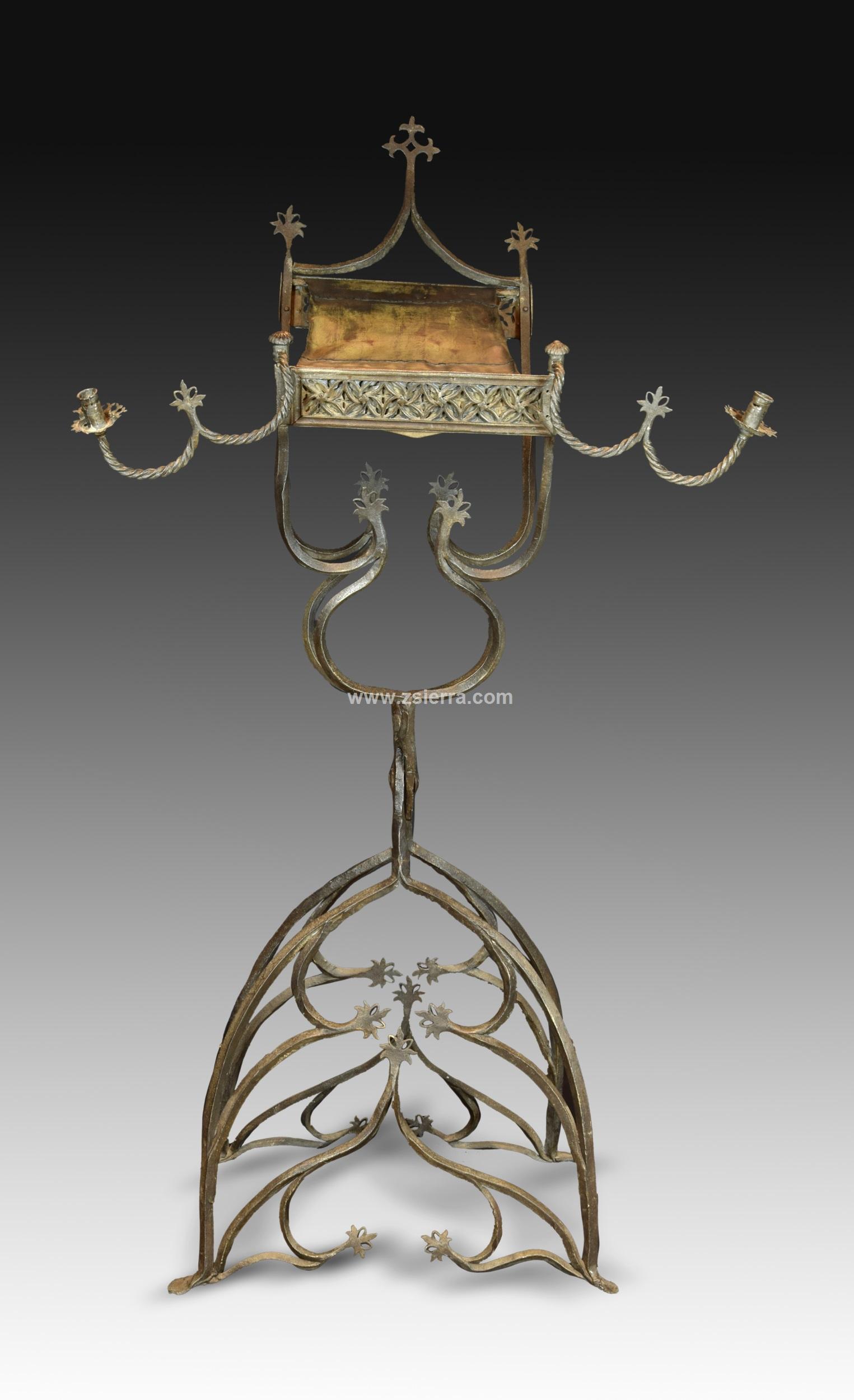 Z sierra antig edades y objetos de decoraci n atril de pie en hierro forjado s xvi varios - Atril decoracion ...